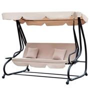Outsunny 2 in 1 Swing Chair Day Bed with Canopy - Beige