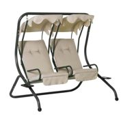 Outsunny 2 Seater Garden Metal Swing Seat Patio Swinging Chair Hammock Canopy