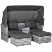Outsunny 3 PC Outdoor Rattan Daybed Sofa Stool Table Set w/ Canopy, Cushion