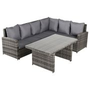Outsunny 3 PCS Outdoor Patio Dining Table Sets All Weather PE Rattan Sofa Furniture Set w/ Cushions & Tempered Glass Table Top Grey