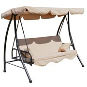 Outsunny 3 Seater 2 in 1 Swing Chair Hammock Bed - Beige