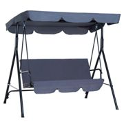 Outsunny 3 Seater Canopy Swing Chair Garden Rocking Bench Heavy Duty Patio Metal Seat w/Top Roof - Grey