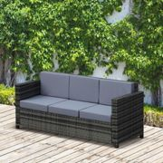 Outsunny 3-Seater Weather Resistant Outdoor Garden Rattan Sofa Grey