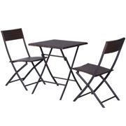 Outsunny 3PC Bistro Set Rattan Furniture Garden Folding Chair Table Brown