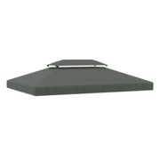 Outsunny 3x4m Gazebo Replacement Roof Canopy 2 Tier Top UV Cover Garden Patio Outdoor Sun Awning Shelters Deep Grey (TOP ONLY)