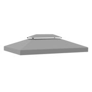 Outsunny 3x4m Gazebo Replacement Roof Canopy 2 Tier Top UV Cover Garden Patio Outdoor Sun Awning Shelters Light Grey (TOP ONLY)