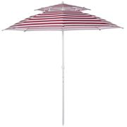 Outsunny Arc. 240cm Beach Umbrella Double-top Canopy Adjustable Height with Carry Bag for Beach Patio Garden Outdoor Red Stripe