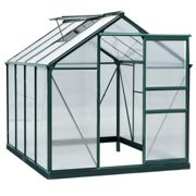 Outsunny Clear Polycarbonate Greenhouse Large Walk-In Green House Garden Plants Grow Galvanized Base Aluminium Frame w/Slide Door (6ft x 8ft)