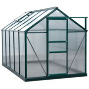 Outsunny Clear Polycarbonate Greenhouse Large Walk-In Green House Garden Plants Grow Galvanized Base Aluminium Frame w/ Slide Door (10ft x 6ft)