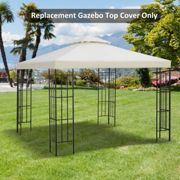 Outsunny Gazebo Replacement Canopy 3x3 m Cream White Roof Top Cover Spare Part New Garden 2-Tier Tent-Cream White