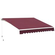 Outsunny 3 x 2.5m Garden Manual Retractable Awning Sunshade w/ Winding Handle - Red