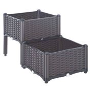 Outsunny Rattan Effect Raised Duo Planter - Brown