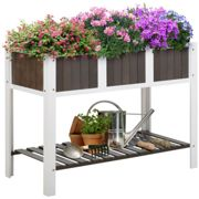 Outsunny Wooden Planter Raised Elevated Garden Bed with Shelf Outdoor/Indoor