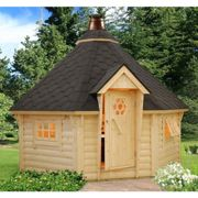 Palmako Eva 3.3m x 3.3m Corner Log Cabin BBQ Hut - Barbecue Hut (44mm)