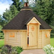 Palmako Eva 3.8m x 3.8m Corner Log Cabin BBQ Hut - Barbecue Hut (44mm)