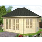 Palmako Hanna 4.2m x 5.7m Corner Log Cabin Summerhouse (44mm)