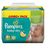 Pampers Baby-Dry Air Channels For Breathable Dryness Overnight and Extra Night Absorption, 76 Nappies, 10-15 kg, Size 4+