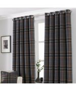 Paoletti Aviemore Eyelet Curtains - Red - Size 168cm (w) x 137cm (l)