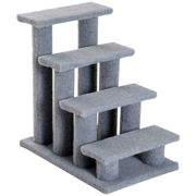 PawHut 4 Wooden Safety Pet Stairs - Animal Ladder - Portable Indoor - Grey