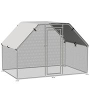 PawHut Walk-In Chicken Coop Run Cage Large Metal Chicken House w/ Cover Outdoor, 280W x 190D x 195H cm
