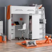 Julian Bowen Max High Sleeper Bed With Desk, Drawers, Pull Out Wardrobe And Hidden Cupboards White