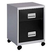 Pierre Henry Filing Cabinet with 2 Lockable Drawers Combi 410 x 410 x 530mm Silver & Black