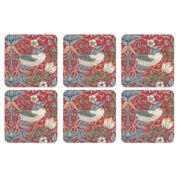 Pimpernel Strawberry Thief Coaster 6-pack Red