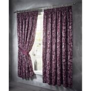 "Portfolio Oak Tree Plum Pencil Pleat Lined 66x72"" Luxury Jaquard Curtain Pair"