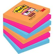 Post-it Super Sticky Notes 76 x 76 mm Bangkok Assorted Colours 6 Pads of 90 Sheets