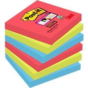 Post-it Super Sticky Notes 76 x 76 mm Bora Bora Assorted Colours 6 Pads of 90 Sheets