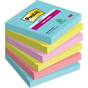 Post-it Super Sticky Notes 76 x 76 mm Miami Assorted Colours Value Pack 4 + 2 Free Pads of 90 Sheets