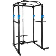 Power tower with lat pulldown bar - black/blue