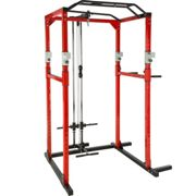 Power tower with lat pulldown bar - black/red