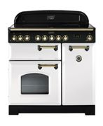 Rangemaster CDL90EIWH/B Classic Deluxe 90cm Electric Induction Range Cooker White/Brass