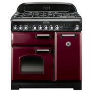 Rangemaster CDL90DFFCY/C Classic Deluxe 90 Dual Fuel Range Cooker, Cranberry