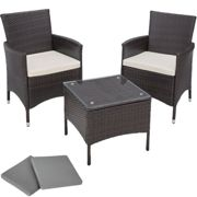 Rattan garden furniture set Athens 2 chairs + table brown