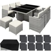 Rattan garden furniture set New York with protective cover, variant 2 - light grey