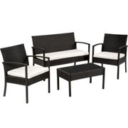 Rattan garden furniture set Sparta 3+1 black