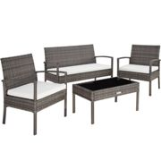 Rattan garden furniture set Sparta 3+1 - grey
