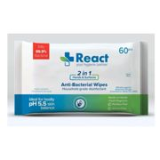 REACT-Antibacterial hand+surface wipes-biodegradable-Ctn of 24pk of 60 - Direct from MSKA - Delivered to UK/IRE in 72Hrs - EU Delivery 5-8 Days