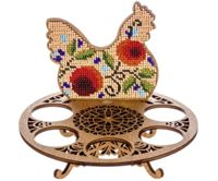 Red Berry Chicken, Egg Holder Beaded Easter DIY Kit On Wooden Canvas Embroidery Craft Set Ornament Cross Stitch X 15.5cm