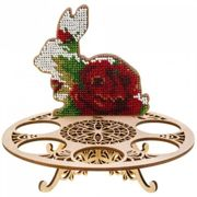 Red Rose Rabbit, Egg Holder Beaded Easter DIY Kit On Wooden Canvas Embroidery Craft Set Ornament Cross Stitch X 15.5cm