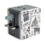 Retro Series Worldwide Travel Power Adapter with 2 USB ports (5V / 2.1A) - Paris Edition