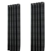 Riva Home Aviemore Checked Pattern Ringtop Curtains (66 x 54in (168 x 137cm)) (Grey)