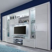 Roma Entertainment Unit White With High Gloss Fronts And LED