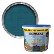 Ronseal Fence life plus Midnight blue Matt Fence & shed Wood treatment 12L