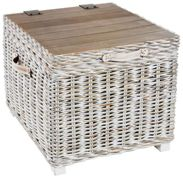 Rowico Maya Rattan Storage Side Table - White Wash