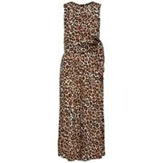 Selected Femme - Leoni Sleeveless Cropped Leopard Print Jumpsuit - 42 - Brown