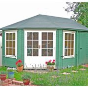 Shire Villandry 4.3m x 3m Corner Log Cabin Summerhouse (28mm)