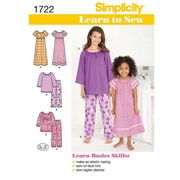 Simplicity Learn to Sew Children Loungewear Sewing Pattern, 1722